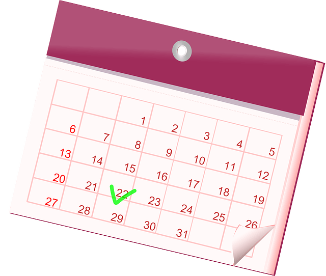Pink calendar with date ticked.