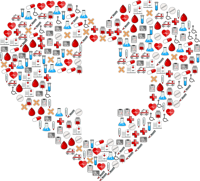 Heart made up of medical symbol emojis with white cross in the middle.
