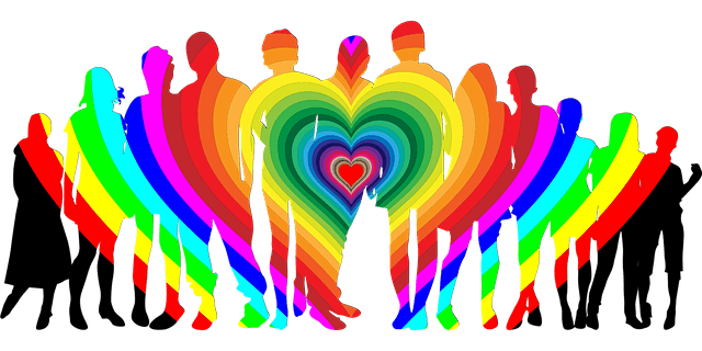 Silhouette of a group of people with rainbow heart.